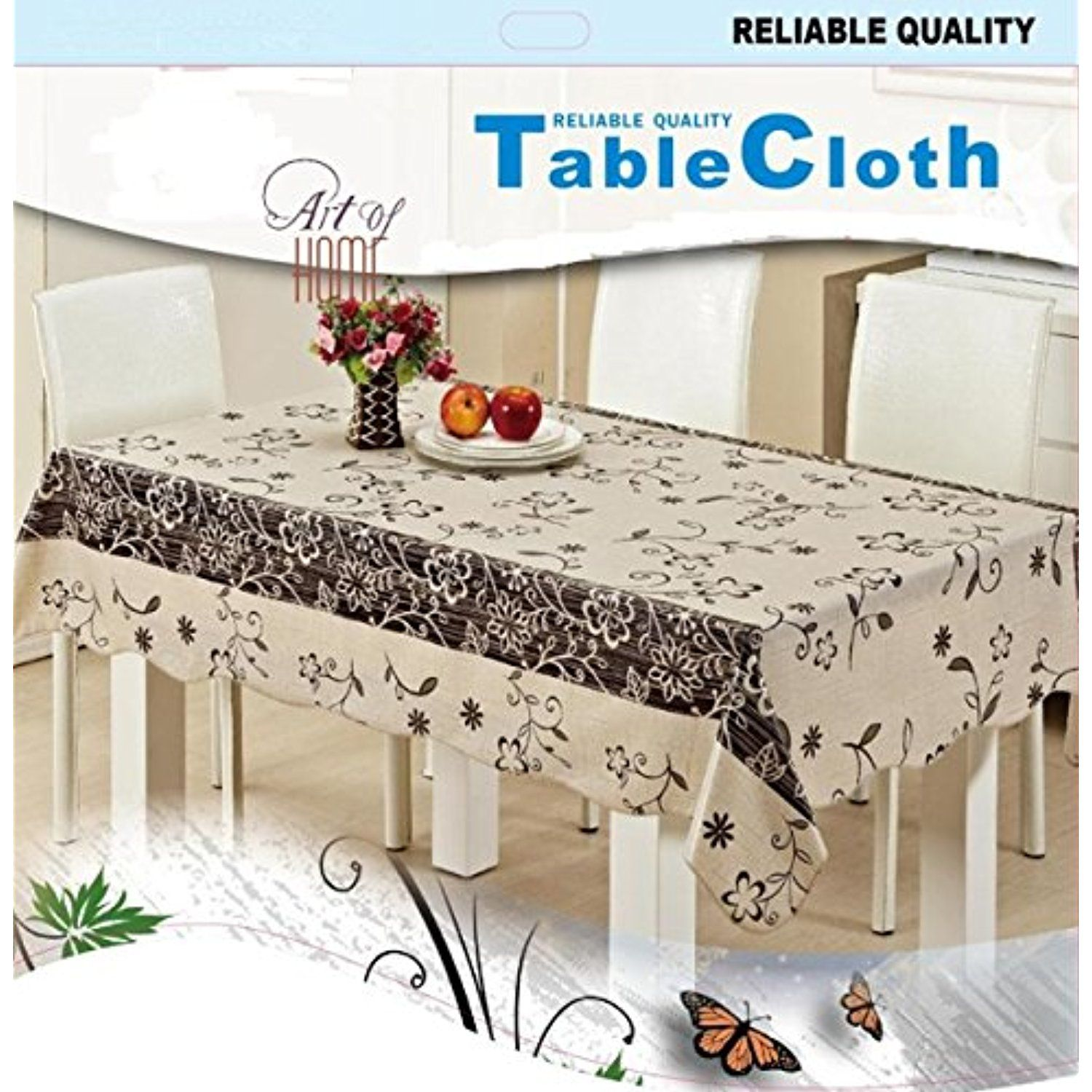 Effortlife Flannel Backed Vinyl Tablecloth Waterproof Oil Proof Pvc Table Cover Rectangle 42 X60 Spring Flower Table Covers Table Cloth Vinyl Tablecloth