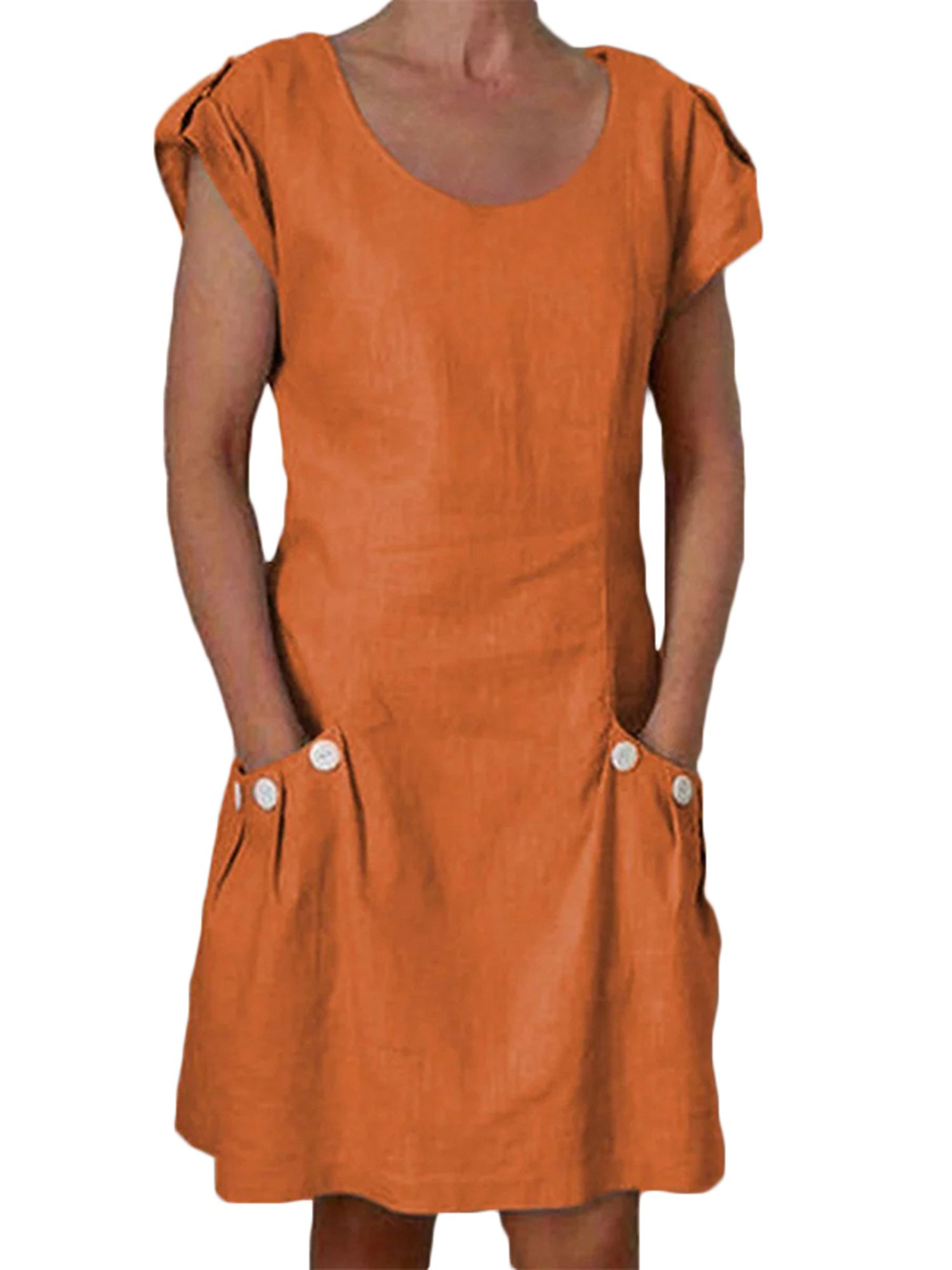 Wodstyle Women S Summer Short Sleeve Linen Tunic Mini Dress Sundress Plus Size Beach Walmart Com Dress Shirts For Women Mini Dress Casual Womens Dresses [ 2000 x 1500 Pixel ]