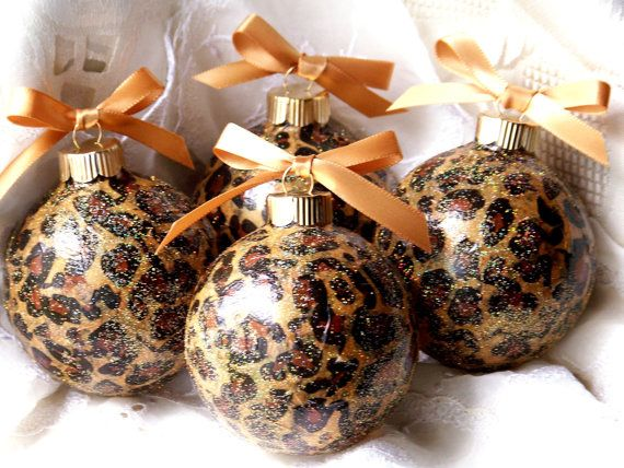 Animal Print Sparkling Glass Ball LEOPARD Christmas Ornaments, Lot of 4,  Wild Safari, Tree Decorations. $20.00, via Etsy. - Cyber Monday, Animal Print Sparkling Glass Ball LEOPARD Christmas