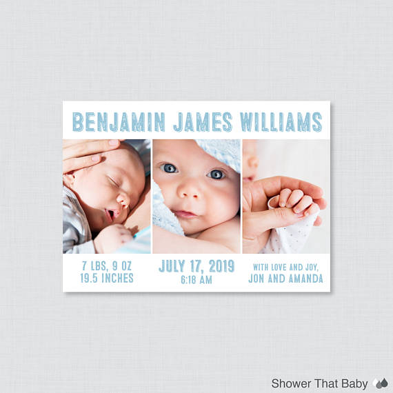 Printable or Printed Birth Announcement Cards - Photo Collage Birth