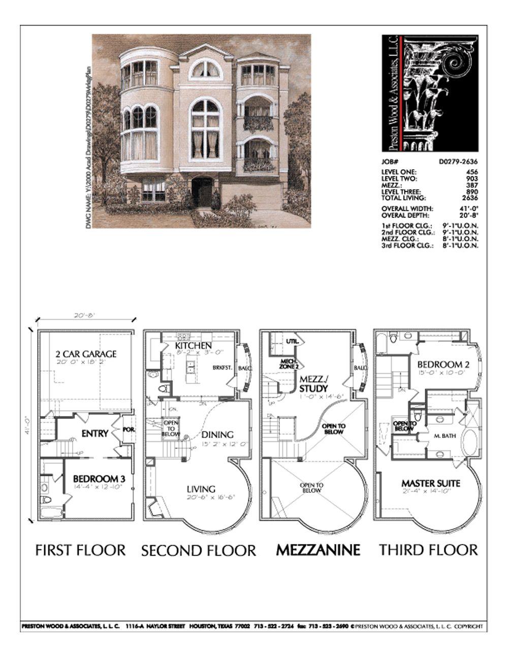 Townhouse Plan D0279 | Pinterest | Townhouse, Mezzanine floor and ...