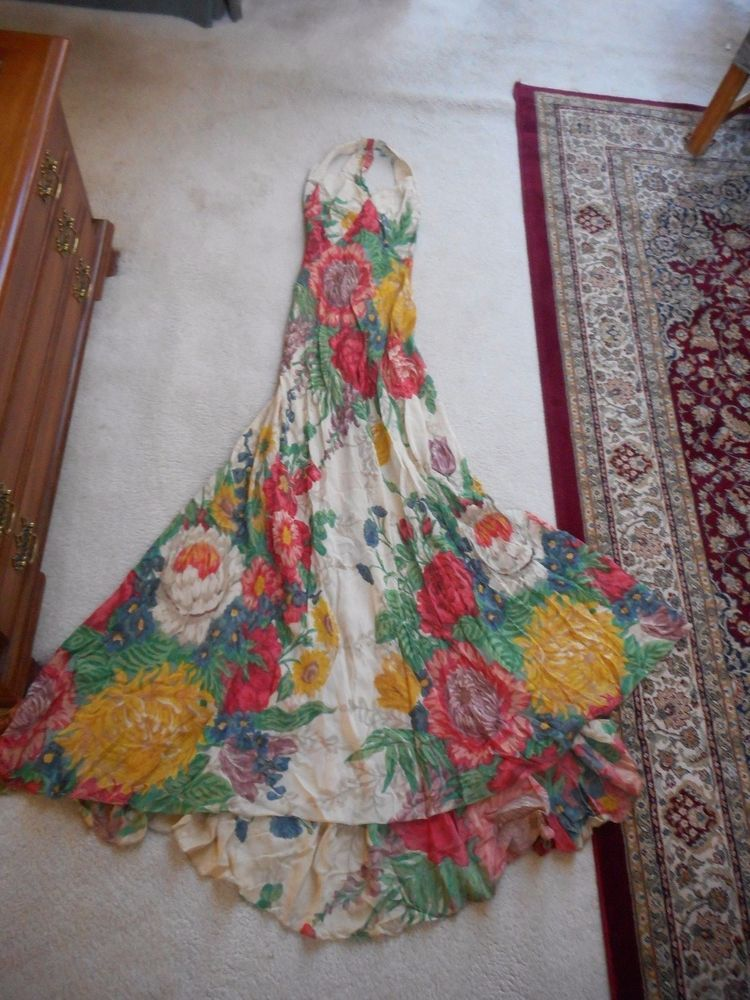 True Vintage 1930's Large Floral Halter Gown with Train #Unknown