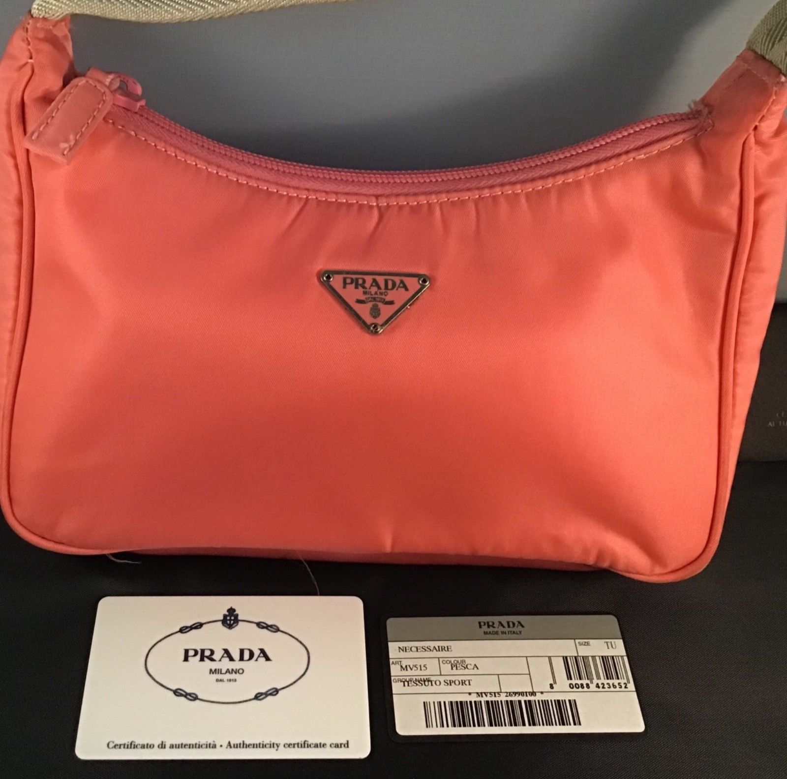 dfc7a66883c0a2 Authentic Vintage Prada Tessuto Sport bag Pesca (coral/ pink) Good Used  Cond.
