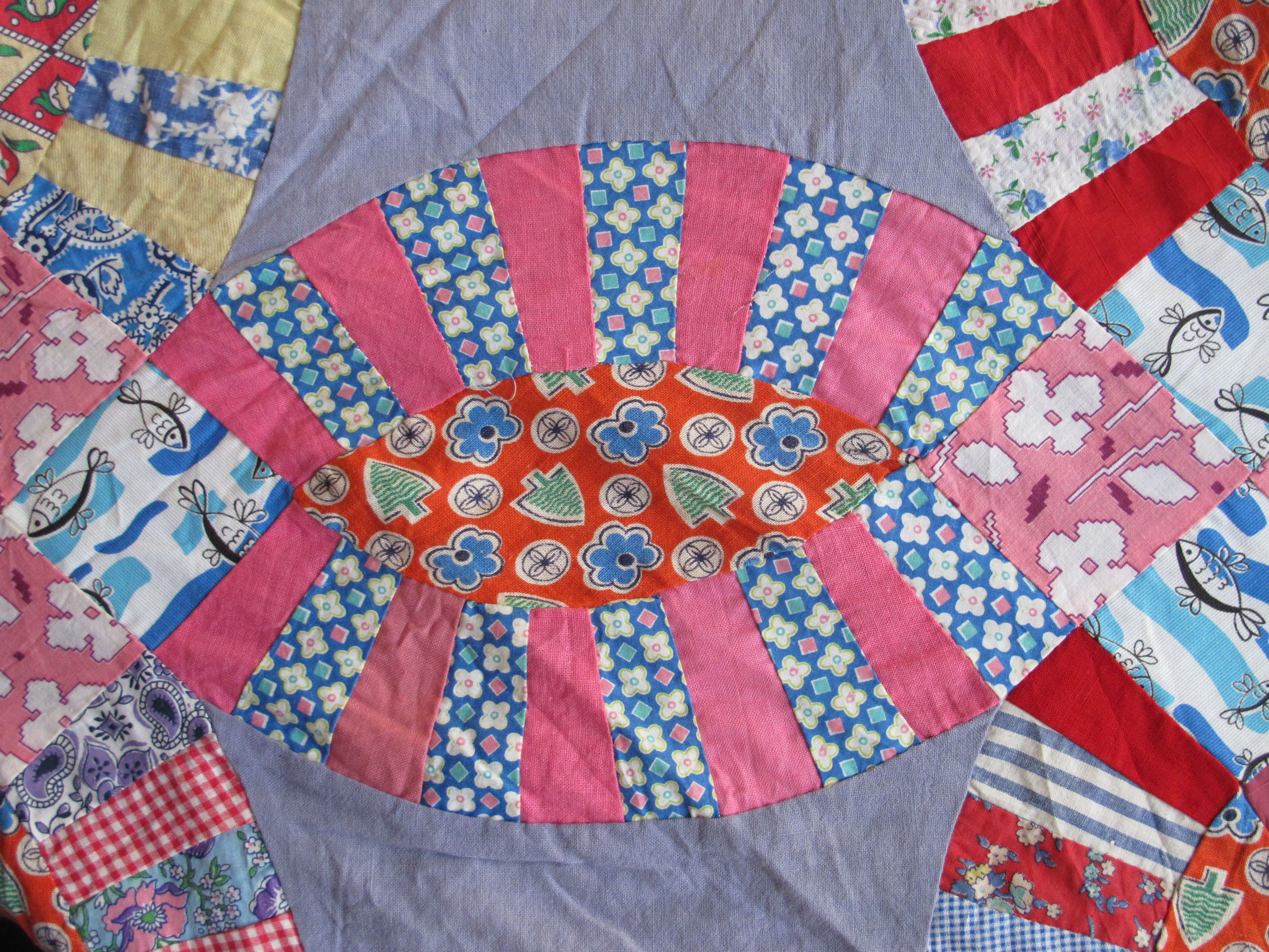 Colorful feed sacks of a wedding ring quilt top sold on Ebay by ...