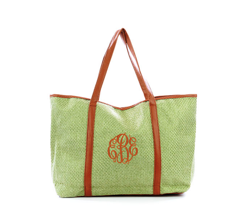 Going Fast! Monogrammed GreeWoven With Leatherette Handles Large Tote Bag  | MonogrammedMemories - Bags & Purses on ArtFire