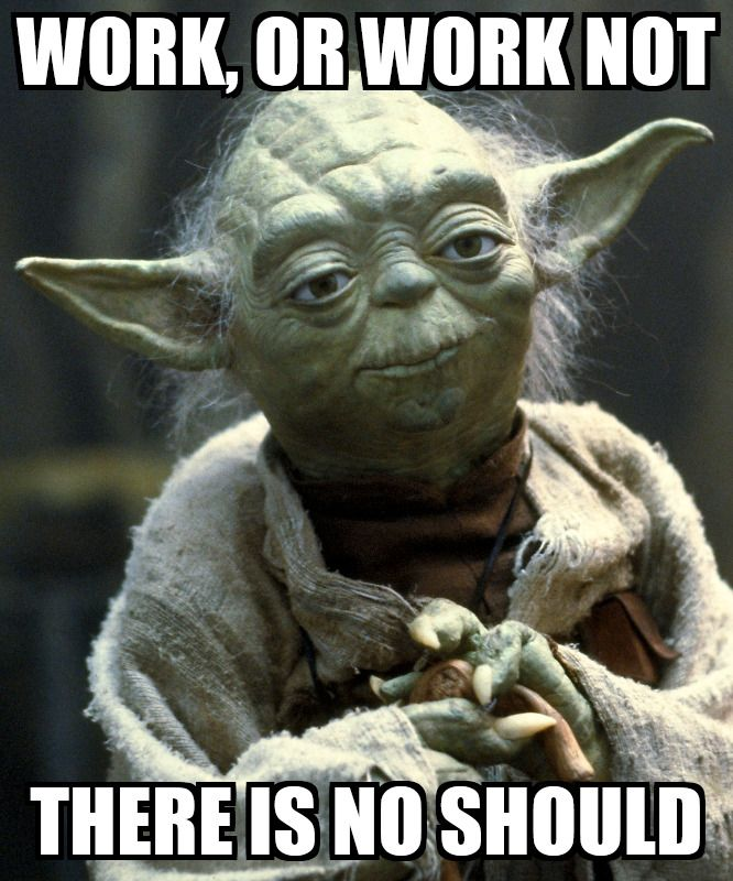 Work Or No Work There Is No Should Funny Fishing Memes Yoda Meme Star Wars Memes