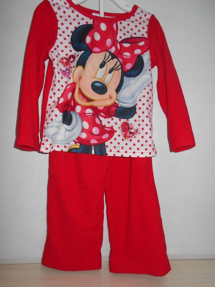 4c69fc192b SIZE 4T Little Girls Disney Set of PJ s 2 PC Pajamas W Minnie Mouse Long  Sleeves  Disney  TwoPiece