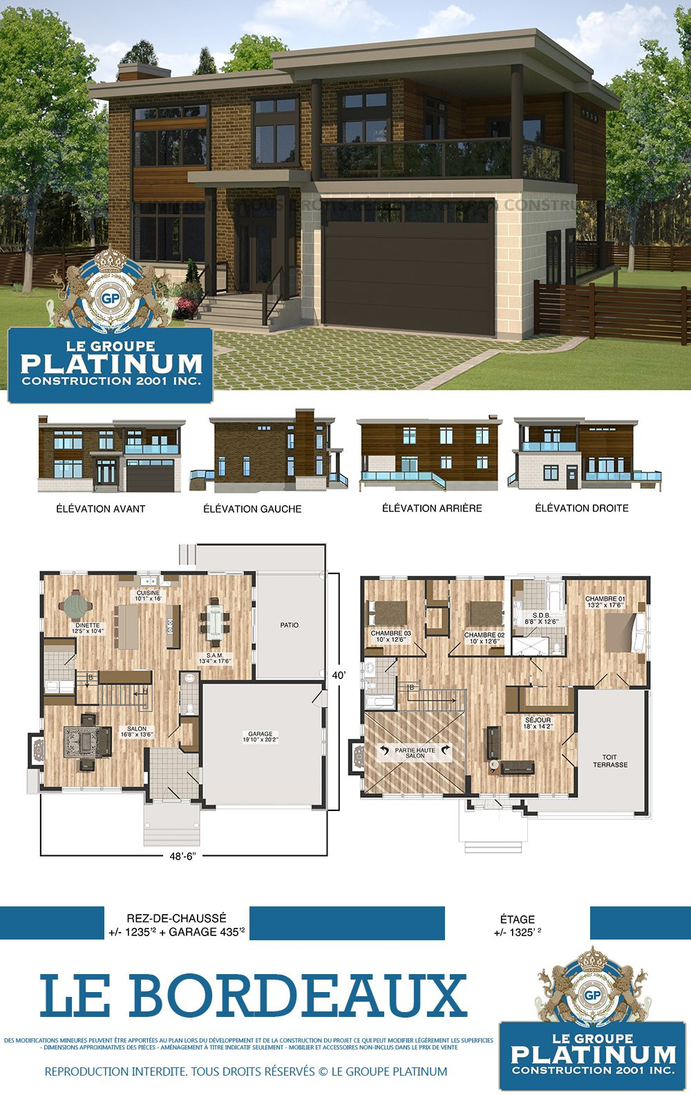 Mod le de maison neuve le bordeaux le groupe platinum construction de maisons et condos for Construction maison neuve bordeaux