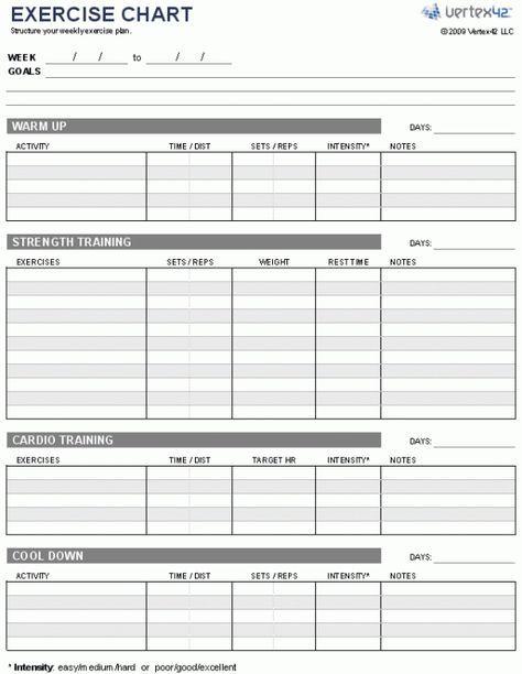 Daily Workout Chart - FITNESS GURU Ecercise Pinterest Workout - workout char template