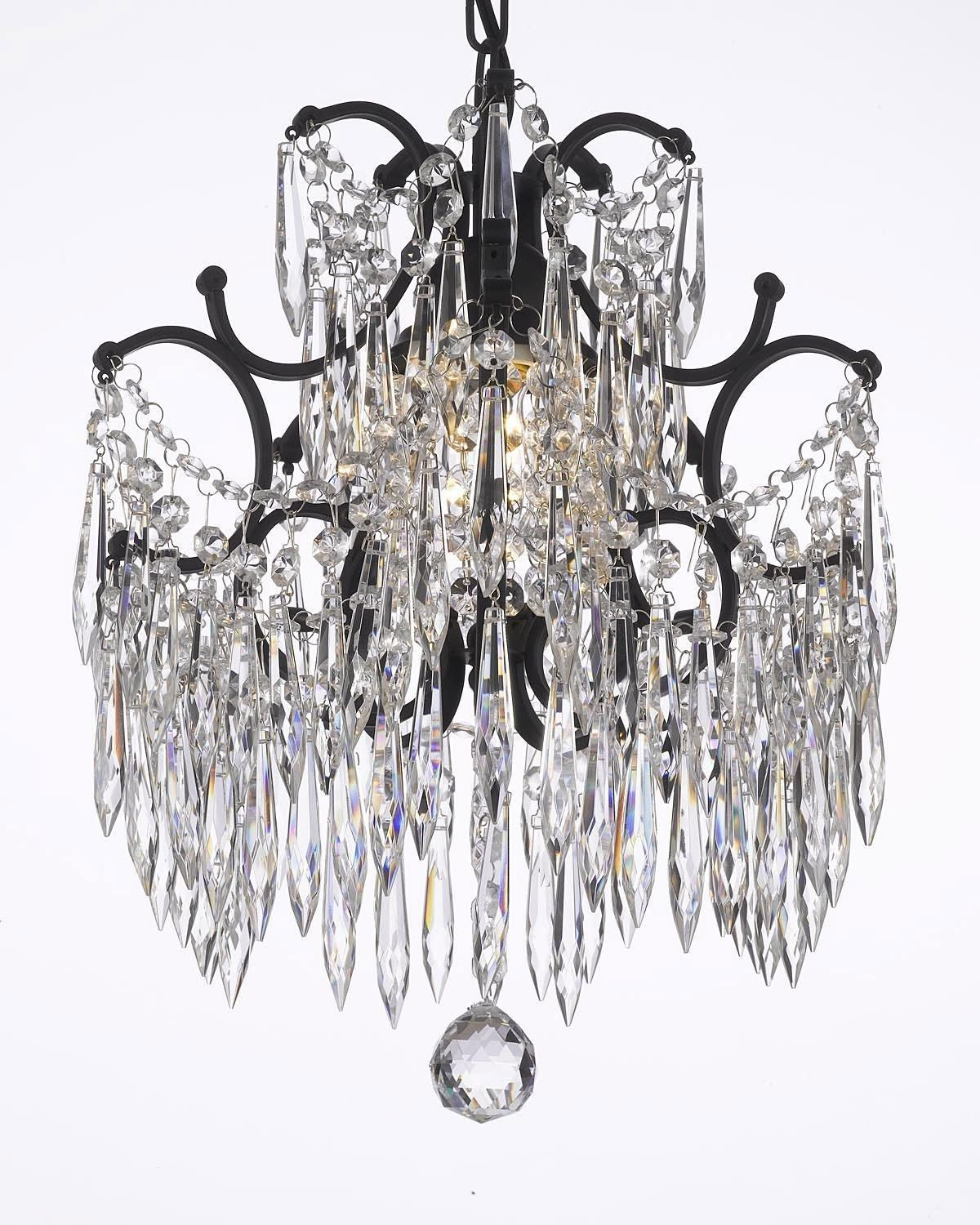 Wrought iron crystal chandelier dressed with icicle crystals wrought iron crystal chandelier dressed with icicle crystals arubaitofo Images