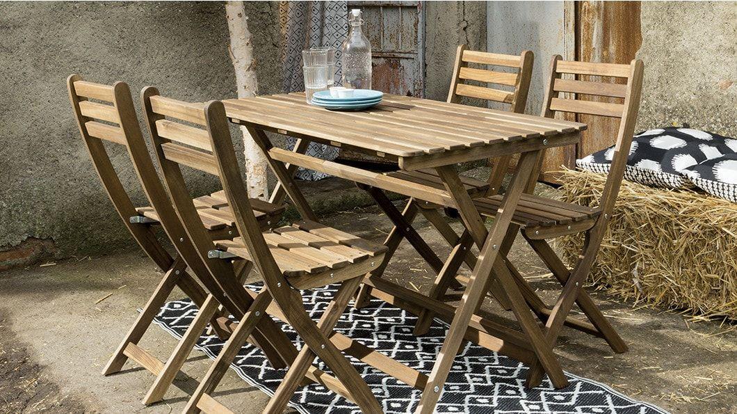 Sedie E Tavoli Da Esterno Ikea.Askholmen Tavolo 4 Sedie Da Giardino Mordente Grigio Tortora