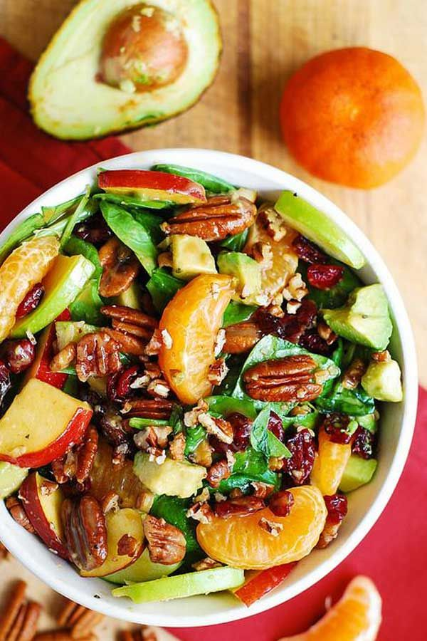 Apple Cranberry Spinach Salad with Pecans, Avocados (and Balsamic Vinaigrette Dressing) - This Appl