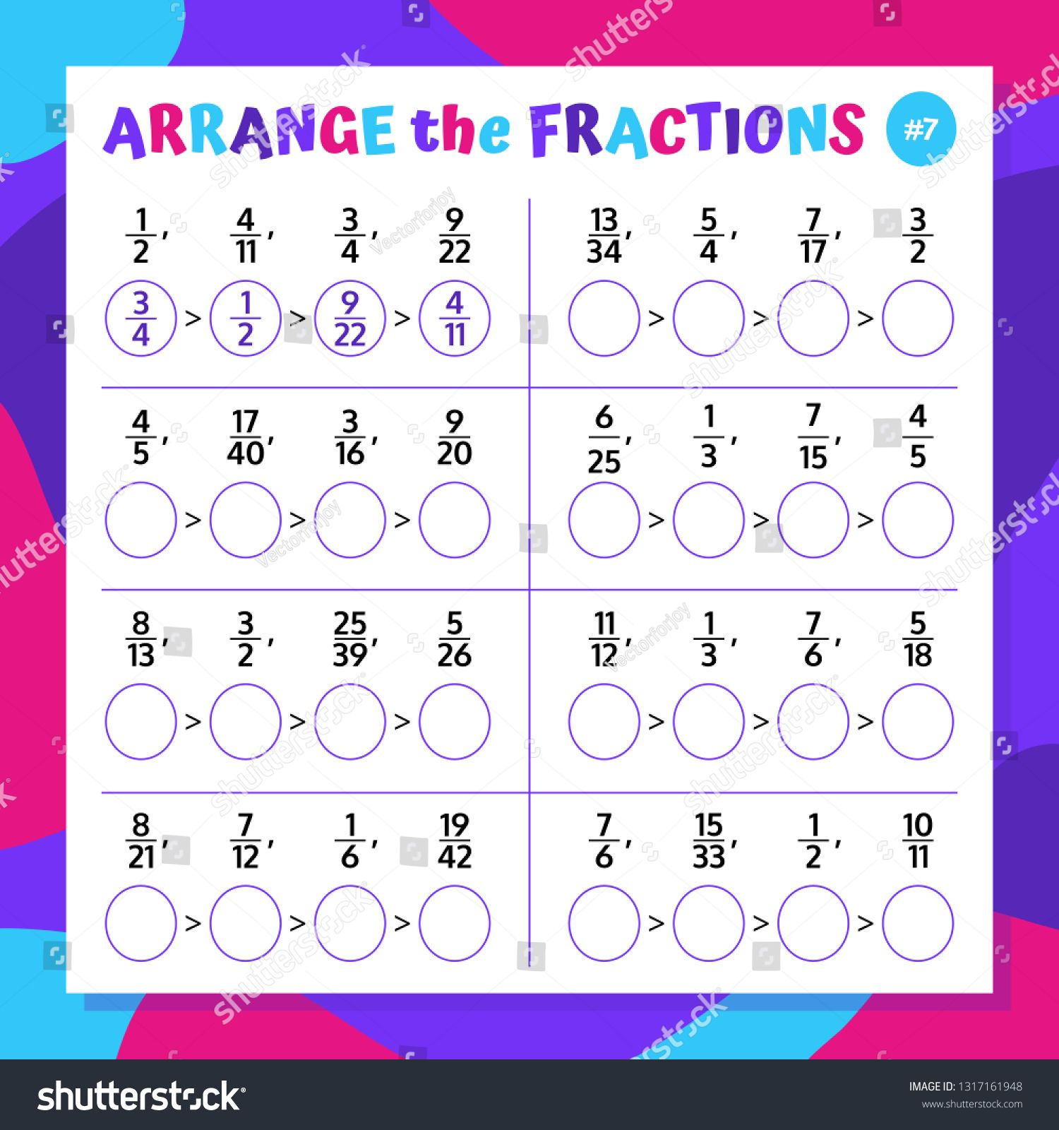 Comparing And Ranging The Fractions Mathematical Worksheet