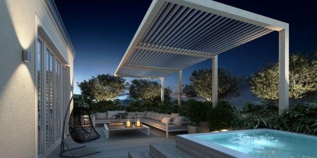 dachterrasse lounge überdachung pool beleuchtung   Gartenterasse ...
