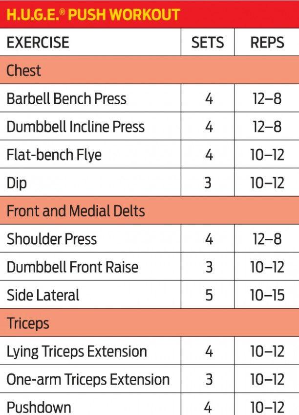 HUGE Push Workout | Work it off | Push pull workout, Push