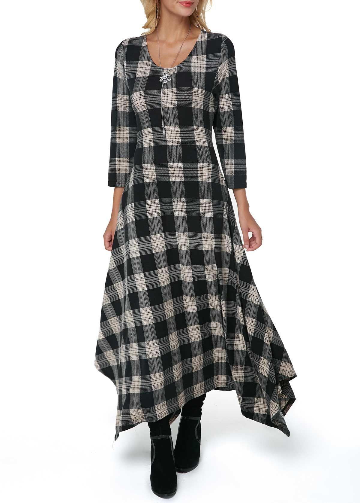 f3e3e1662e2 Plaid Print Pocket Asymmetric Hem Maxi Dress