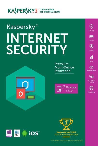 Kaspersky internet security 2016 1 pc, 1 year future tab.