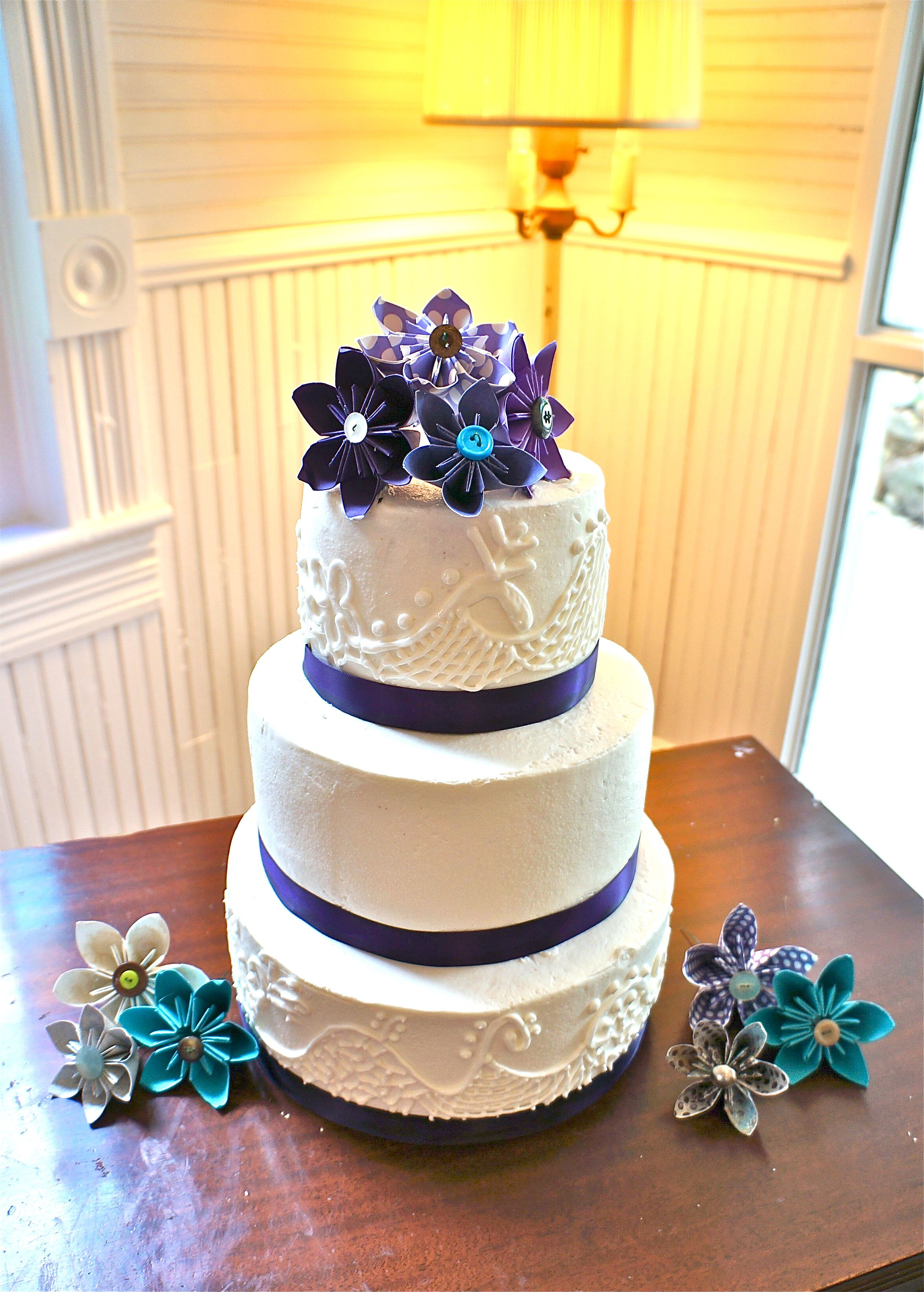 3 tier buttercream cake with royal icing lace and ribbon | My Cakes ...