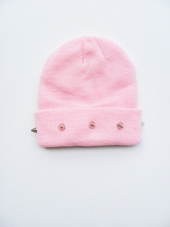 796ae889178 Studded Beanie - Pink Beanie - Pastel Hat - Kawaii - Grunge - ALL SIZES