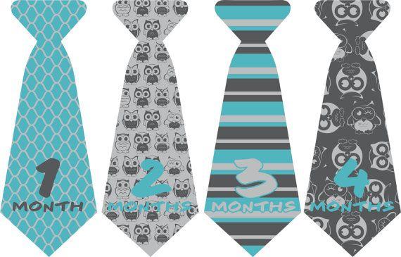 Owl Monthly Onesie Sticker Ties//Neck Tie//Baby by ByDeSIGN12, $8.99