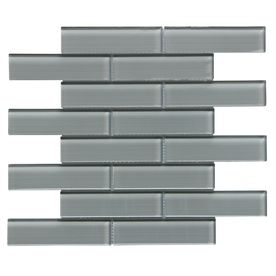 Bestview Grey Linen Polished Linear Mosaic Glass Wall Tile Common 12 In