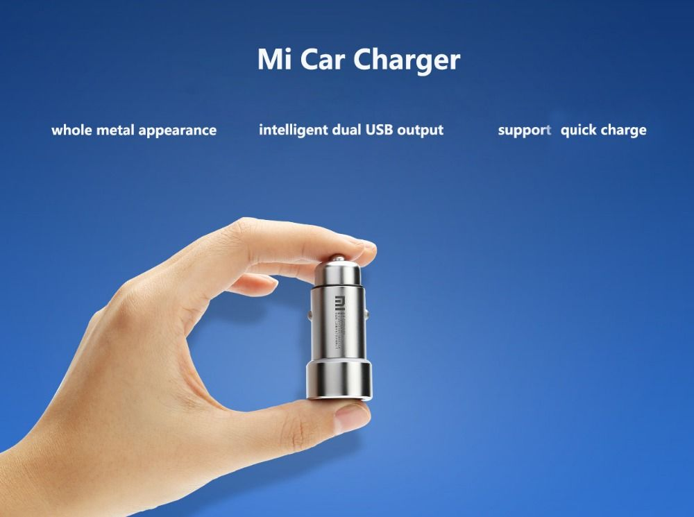100 Original Xiaomi Mi Car Charger Metal Appearance Dual Usb Output Quick Charger Adapter For Iphone 5 5s 6 6s For Samsun Charger Car Charger Adapter Dual Usb