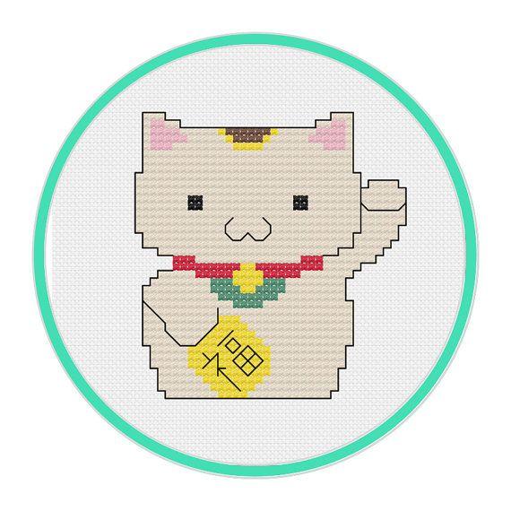 Lucky Cat Cross Stitch Pattern - Maneki-Neko Cross Stitch Pattern ...