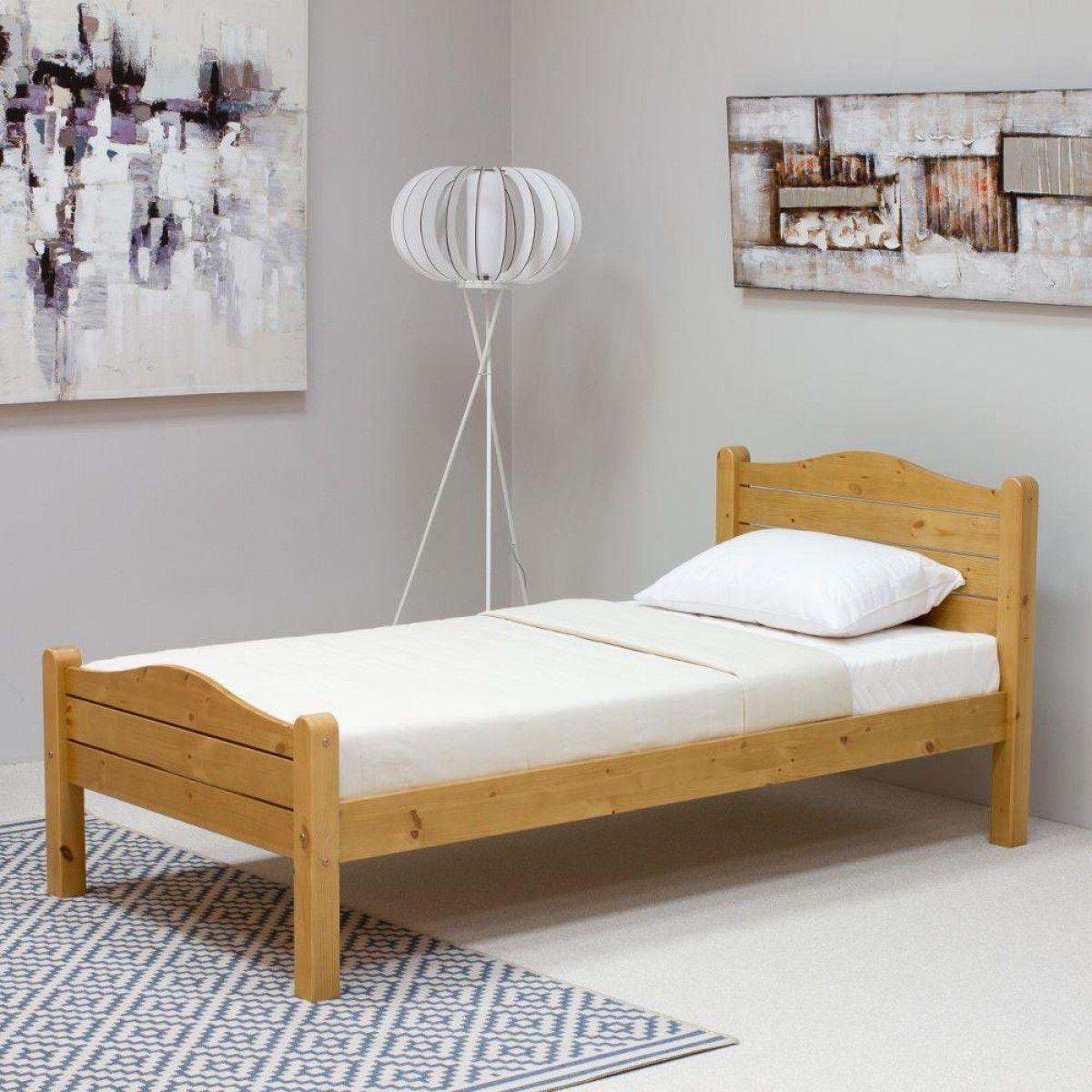 Elwood Antique Pine Wooden Bed | Wooden bed frames, Single ...