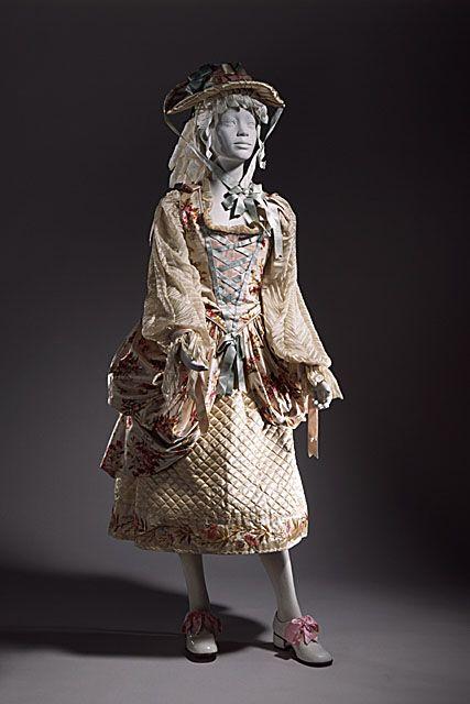"Girl's ""China shepherdess"" fancy dress costume, English, c. 1890. Printed silk, silk gauze."