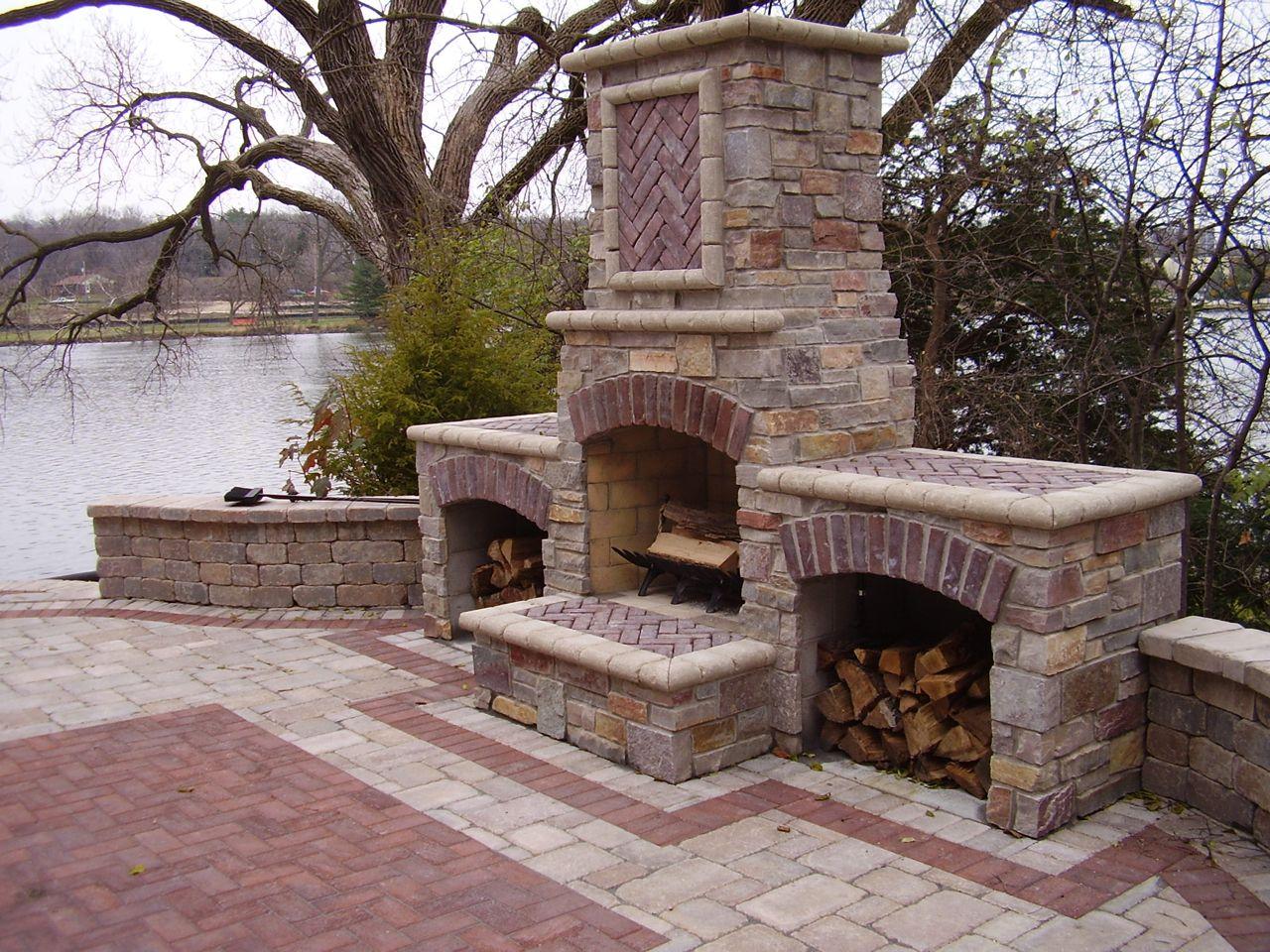 Landscape Outdoor Fireplace Benson Stone Diy Outdoor