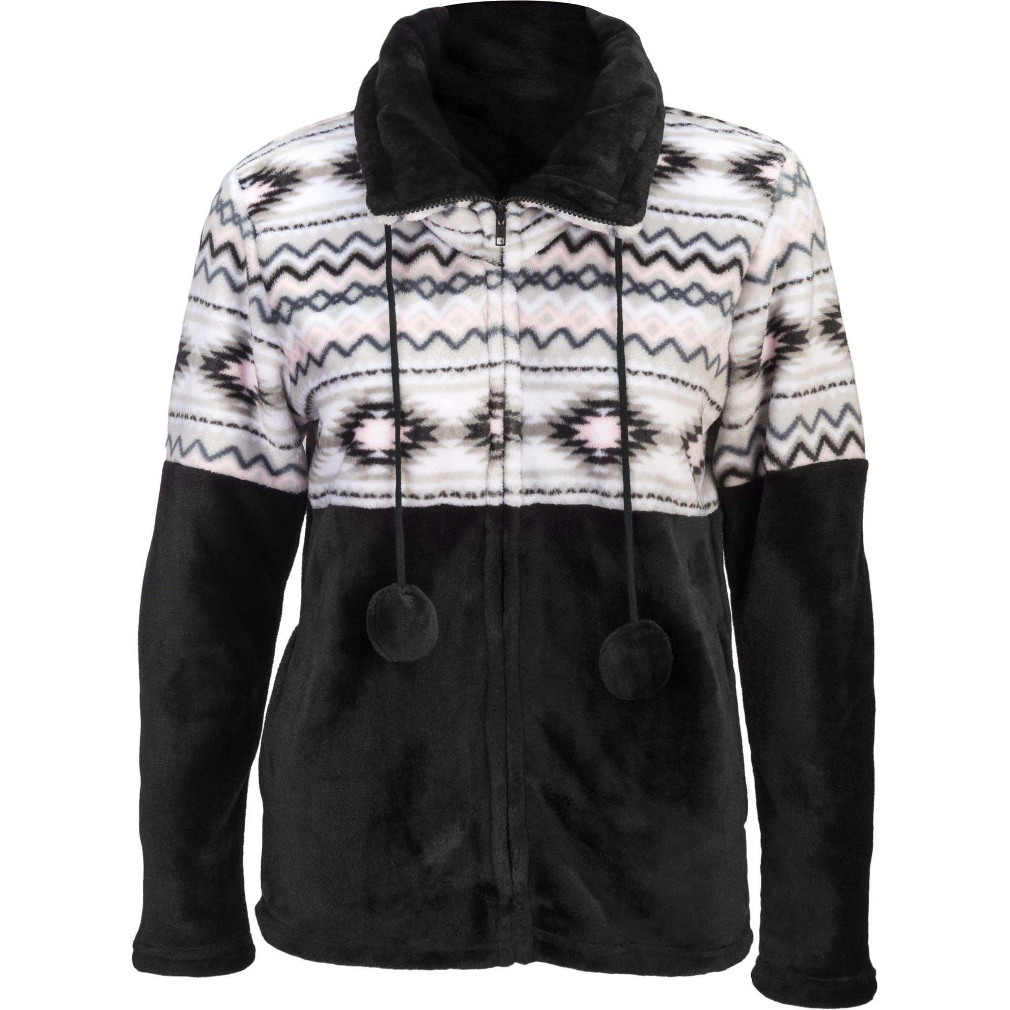 Flannel hoodie jacket women's  Womenus Aztec Flannel Plush Fleece Full Zip Jacket  Plush and Products