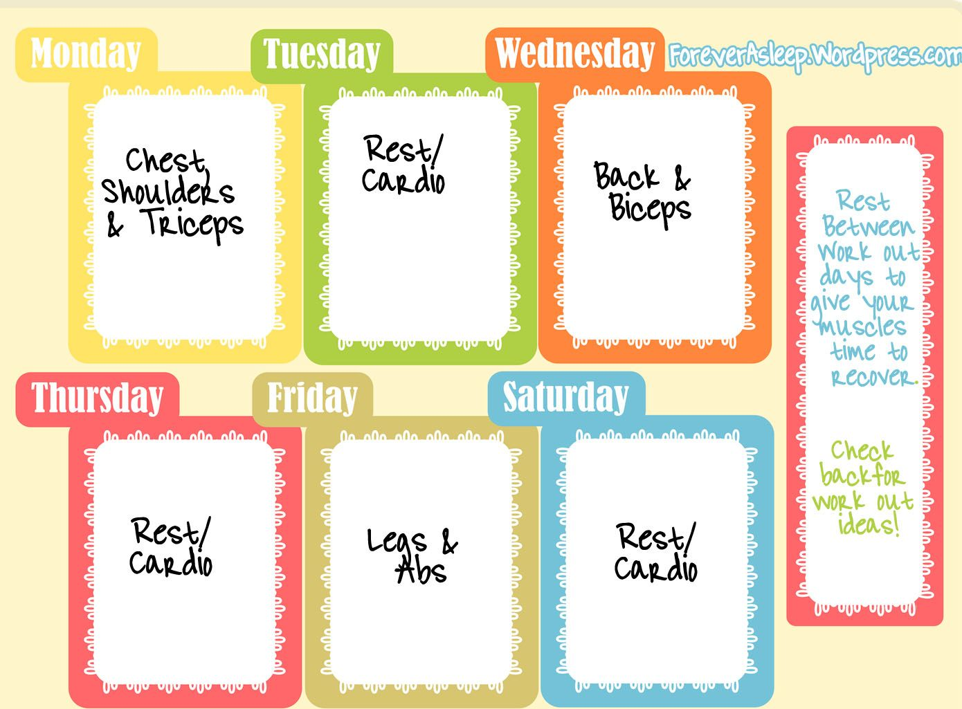 Strength Training Exercises Weekly plan | Training exercises ...
