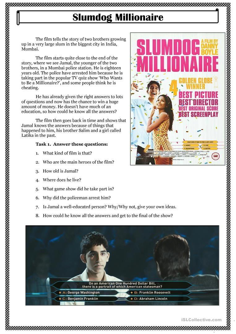 Slumdog Millionaire Movie Worksheet Free Esl Printable Worksheets Made By Teachers In 2021 Millionaire Beginners Grammar [ 1079 x 763 Pixel ]