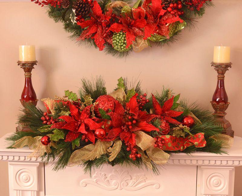 Poinsettia christmas centerpiece floral home decor silk