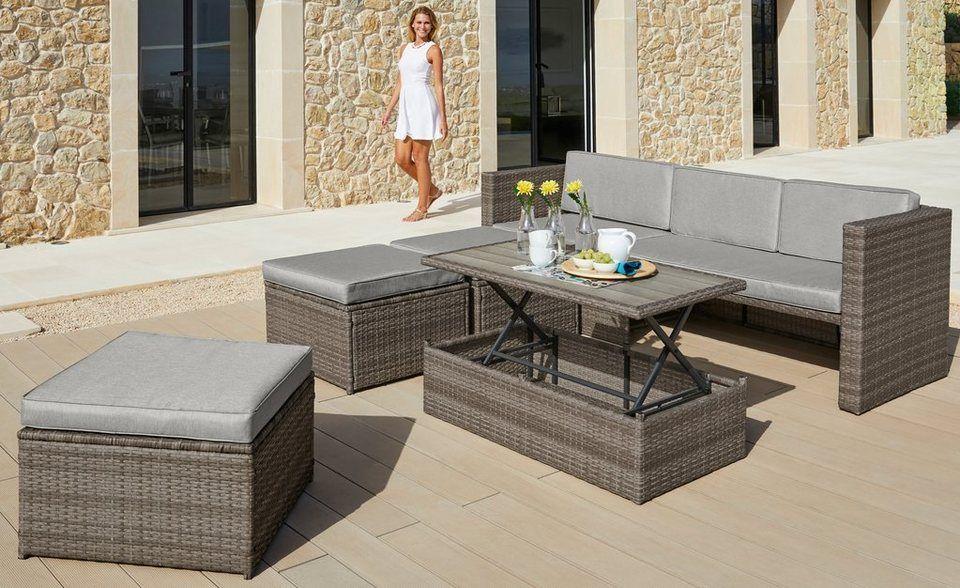 Konifera Loungeset Lagos Premium 13 Tlg 3er Sofa 3 Hocker Tisch Polyrattan Online Kaufen Lounge Mobel 3er Sofa Und Tisch