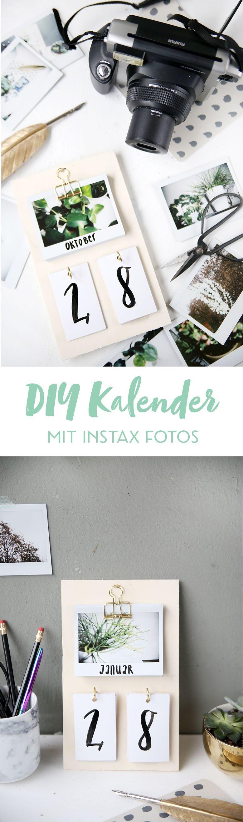 diy schreibtisch kalender mit instax fotos selbstgemacht diy basteln diy kalender und. Black Bedroom Furniture Sets. Home Design Ideas