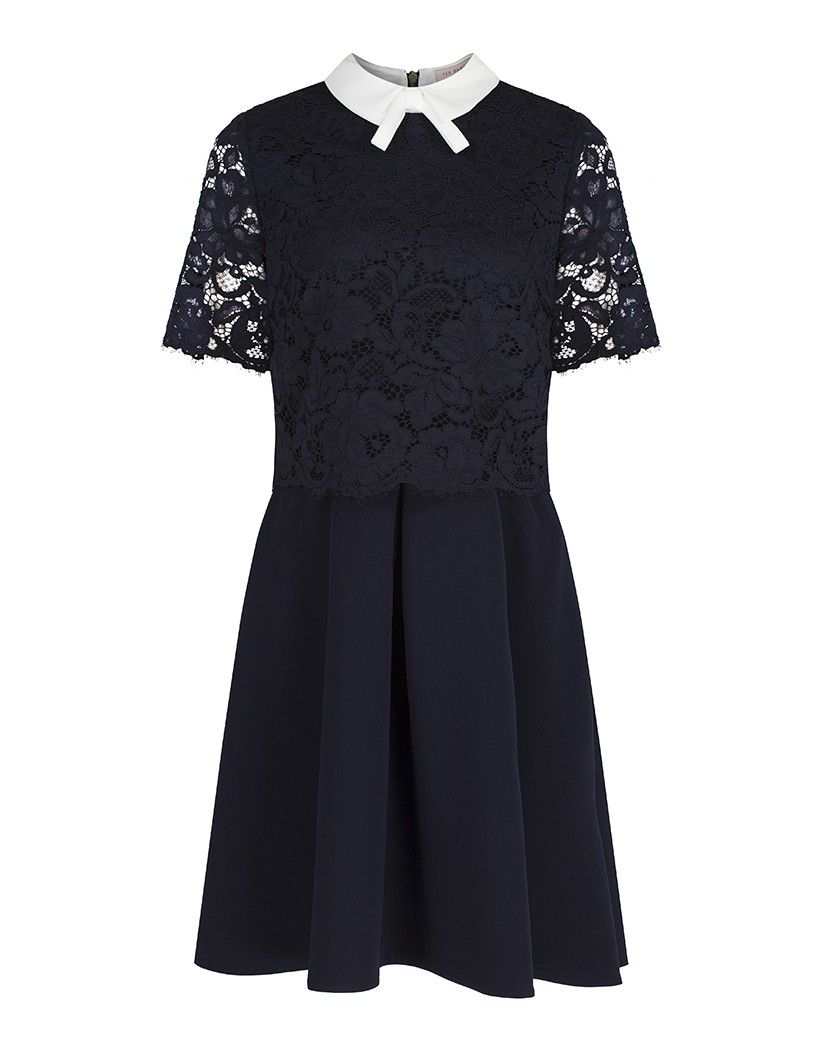 cefa357b7 Ted Baker Women s Dixxy Lace Bodice Double Layer Dress - Navy in ...