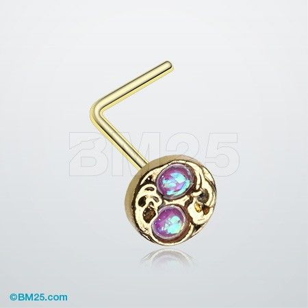 Golden Tao Filigree Opal Sparkle L-Shaped Nose Ring