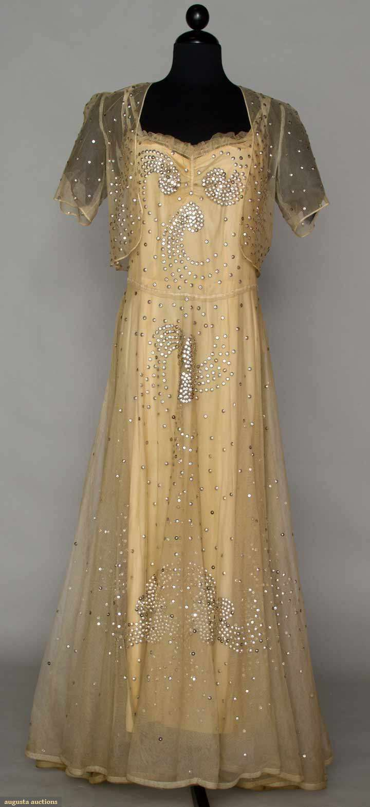 1940s Cream Net Evening Gown with Bolero