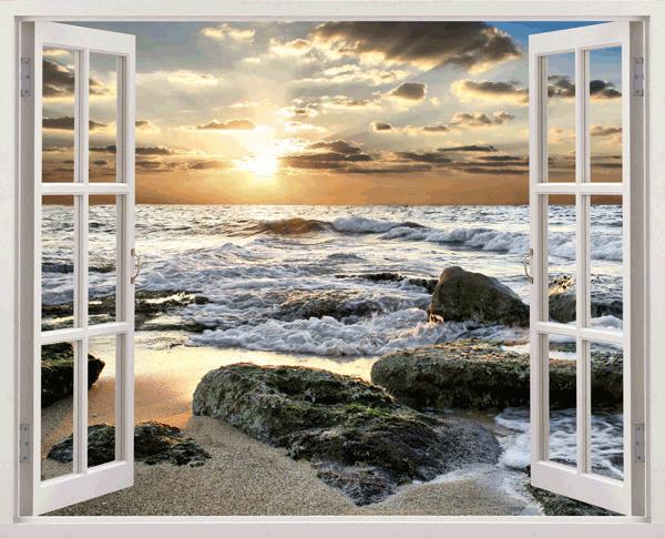 Beach cove scene 3D full colour fenêtre mural art autocollant mural decal