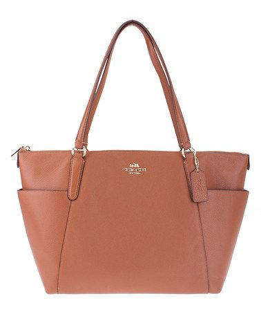 This Saddle Ava Leather Tote is perfect! #zulilyfinds