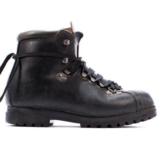 Hiking BALLY Boots . Vintage 80s Swiss Alpine Mountain SURVIVOR Masculine  Footwear Workwear Heavy Duty Leather . US mens 8 Eur 41.5 uk 7.5