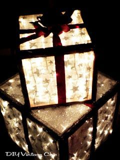 DIY Vintage Chic How To Make Lighted Christmas Presents For Outdoors