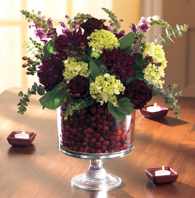 Fill our trifle bowl with cranberries and flowers for an