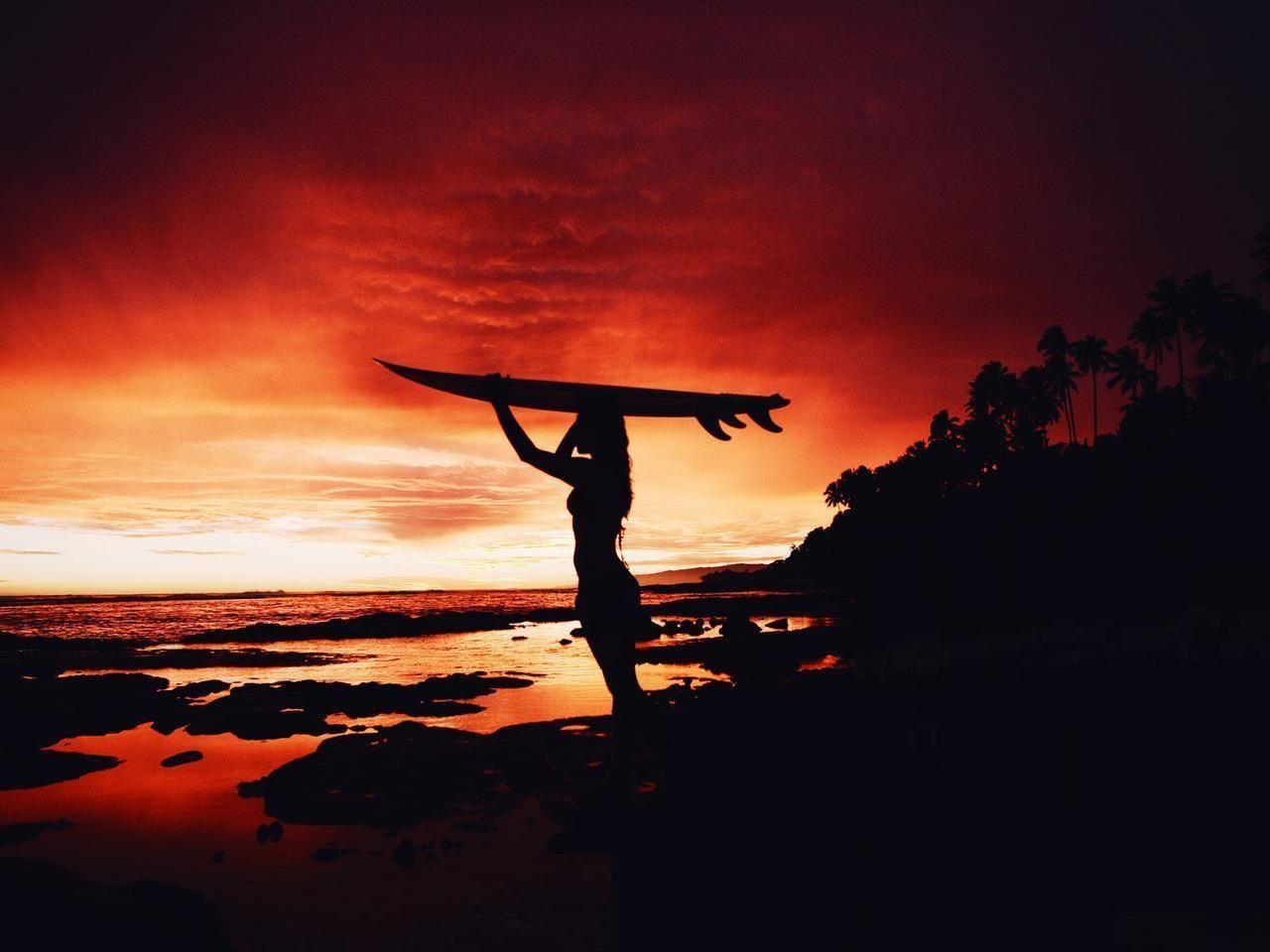 Surfing Sunset Wallpaper Surfing Surf Girls Surf Hair
