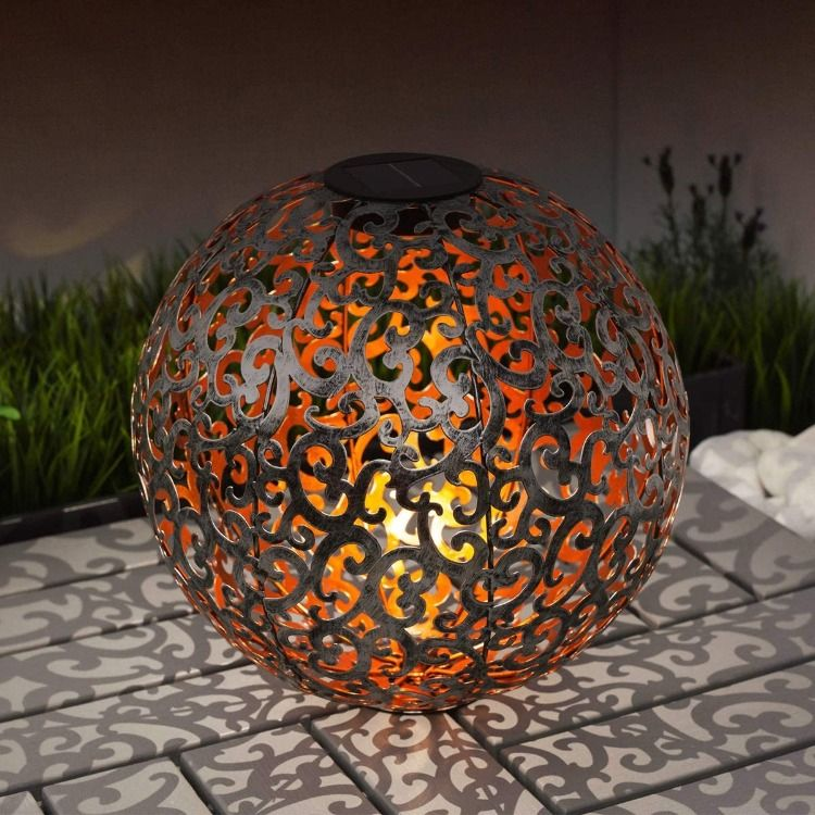 Solarleuchte Garten Idee Navaris Led Solar Kugel Aus Metall 30 X 30cm Solarleuchten Solarkugeln Solarleuchten Garten