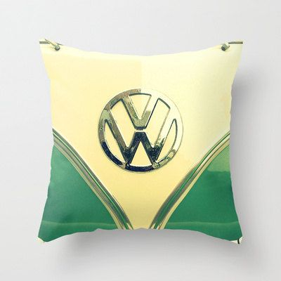 Aqua Sprinkles  - Throw Pillow - Home Decor - Teal, Retro VW bus, hippie, hipster, van, rain, raindrops