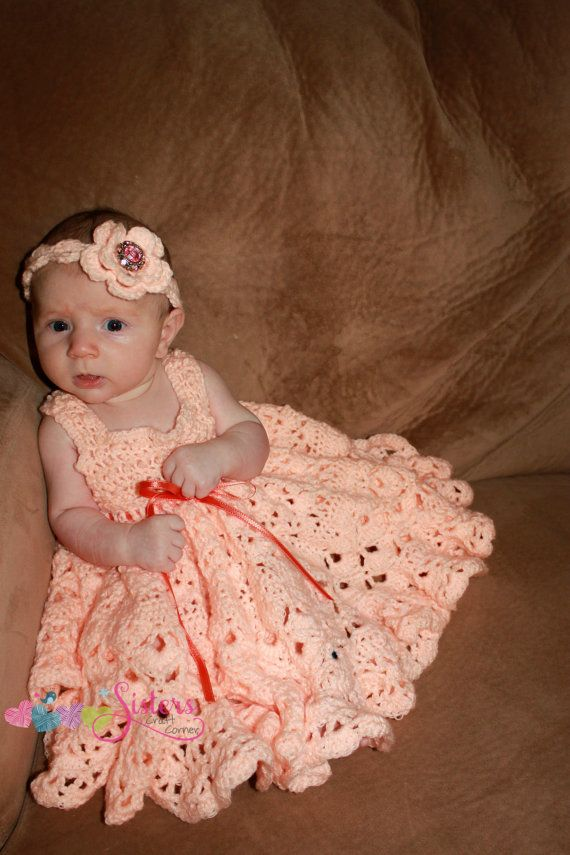 Baby Girl Crochet Full Skirt Dress Frilly by sisterscraftcorner ...