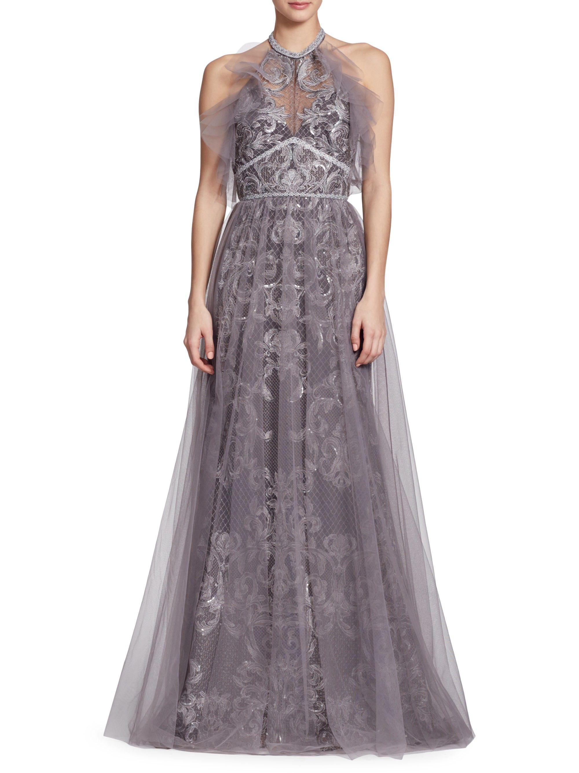 7d286c8eecf0b Marchesa Notte Embroidered Halter Tulle Gown - Silver 6 in 2019 ...