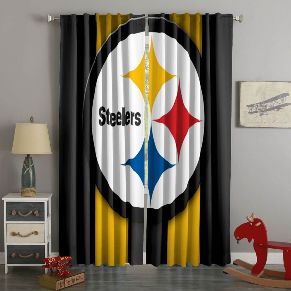 3D Printed Pittsburgh Steelers Style Custom Living Room Curtains